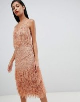 ASOS DESIGN Feather Trim Sequin Midi Dress in mink – glamorous thin strap party dresses