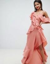 ASOS DESIGN floaty satin ruffle maxi dress in Dusty Rose | asymmetric party fashion