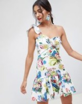 ASOS DESIGN floral one shoulder co-ord mini dress / ruffled partywear
