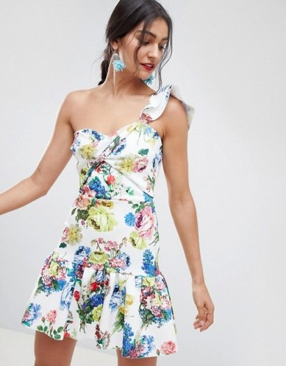 ASOS DESIGN floral one shoulder co-ord mini dress / ruffled partywear - flipped