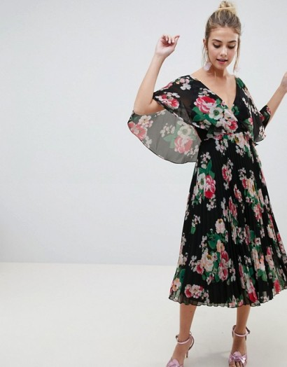 ASOS DESIGN flutter sleeve pleated midi dress in dark floral / summer occasion
