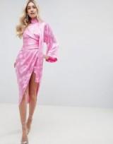 ASOS DESIGN kimono sleeve sash midi dress in soft jacquard in pink / wrap style occasion wear