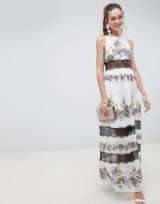 ASOS DESIGN Lace Panel Maxi Dress In Vintage Floral in Pansy print | long party fashion