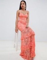 ASOS DESIGN lace tiered maxi dress in coral – long glamorous eveningwear