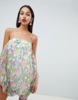 ASOS DESIGN organza print puffball dress with 3D embellished flowers in floral | strappy party fashion