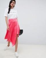 ASOS DESIGN pink snake jacquard midi skirt with asymmetric hem | animal print fashion