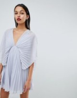 ASOS DESIGN pleated kimono mini dress with cluster embellished shoulders in Blue | oriental inspired fashion