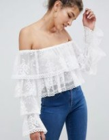 ASOS DESIGN ruffle bardot top with lace in white – off the shoulder summer style