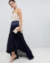 ASOS DESIGN satin mix tiered hem maxi skirt in navy | blue party fashion