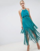 ASOS DESIGN strappy back fringe maxi dress in Tropical Green – fringed party fashion