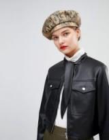 ASOS DESIGN Tie Neck Leather Look Jacket in black
