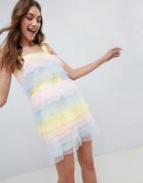 ASOS DESIGN Tiered Mini Dress In Pastel Colourblock Tulle