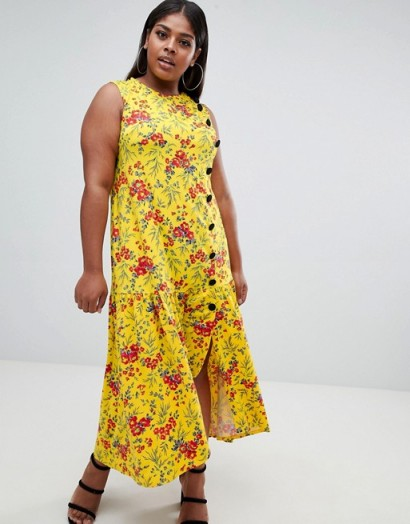 ASOS DESIGN Curve maxi tea dress with dropped hem and contrast buttons in floral print / long yellow summer frocks