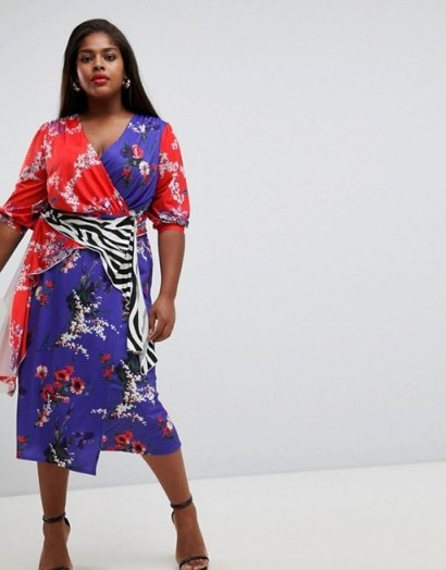 ASOS DESIGN Curve mixed print trophy dress / florals and animal prints - flipped