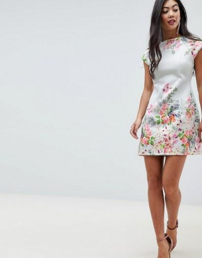 ASOS DESIGN Petite placement floral shift mini dress / pretty flower prints