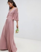 ASOS DESIGN Tall Bridesmaid pleated panelled flutter sleeve maxi dress with lace inserts in pink – long bridesmaids dresses