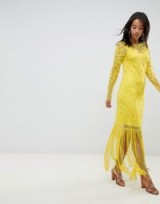 ASOS DESIGN Tall embroidered fringe maxi yellow / floral occasion wear