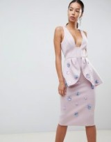 ASOS DESIGN Tall scuba embellished pencil dress in lilac / sequined flowers