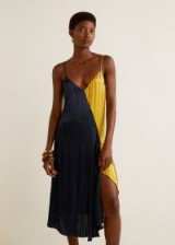 MANGO Asymmetrical satin dress / colour block slip