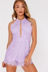 IN THE STYLE AZALIA LILAC CROCHET LACE HALTERNECK BACKLESS PLAYSUIT – glamorous halter style