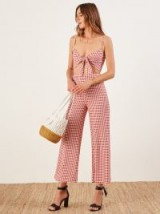 REFORMATION Bahama Two Piece in Darlin / red checked summer pant sets