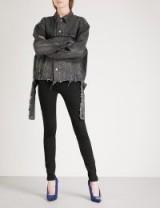 BALENCIAGA Distressed waist denim jacket in Vintage Black