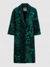 BAUM UND PFERDGARTEN Dara Emerald Leopard-Print Cotton-Blend Coat ~ chic green animal prints