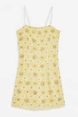 Topshop Bead and Lace Slip Dress in Lemon – strappy yellow going out dresses