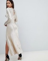 Bec & Bridge Satin Thigh Split Midi Dress in Sand – long glamorous evening dresses – silky fabrics