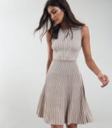 REISS BECKY STRIPED KNITTED DRESS NEUTRAL ~ feminine fit and flare