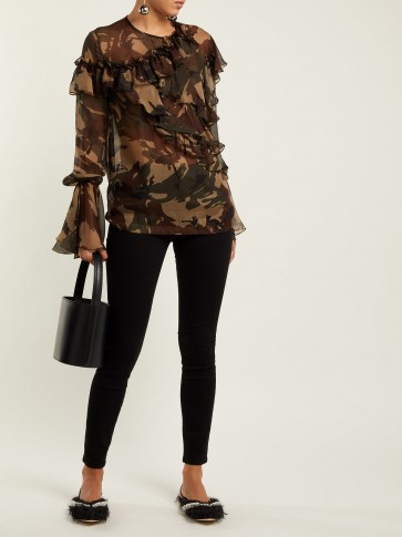 PREEN BY THORNTON BREGAZZI Bella camouflage-print silk-chiffon blouse / sheer ruffled camo top