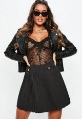 Missguided black pleated military button mini skirt