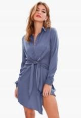 Missguided blue satin tie waist shirt dress – wrap style fashion