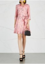 BOUTIQUE MOSCHINO Printed stretch-silk shirt dress ~ pink belted dresses