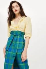 Topshop Bright Check Wrap Midi Skirt | retro summer fashion