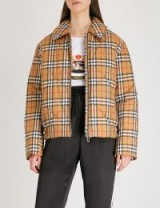 BURBERRY Knowstone quilted shell jacket in antique yellow – check prints