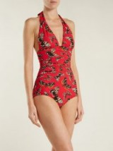 DOLCE & GABBANA Butterfly-print halterneck swimsuit ~ ruched swimsuits
