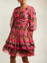 DOLCE & GABBANA Butterfly-print pink silk-chiffon mini dress ~ feminine style event clothing
