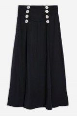 Topshop Button Splice Midi Skirt | slit detail