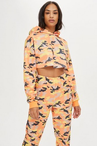 We Own The Night Camouflage Super Cropped Hoodie / orange camo print hoodies - flipped
