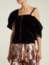 OSMAN Candice black velvet zip-front top