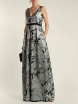 ERDEM Ceren floral-matelassé gown ~ long metallic event wear