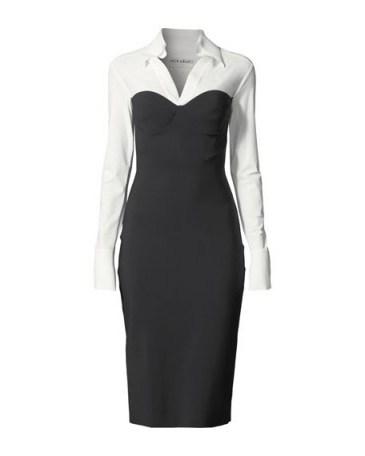 Chiara Boni La Petite Robe Austina Bicolor Shirt Dress w/ Collar – chic workwear - flipped