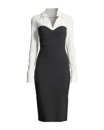 Chiara Boni La Petite Robe Austina Bicolor Shirt Dress w/ Collar – chic workwear