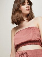 Miss Selfridge Clay Satin Bandeau Top in mink – silky strapless going out tops