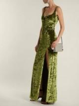 GALVAN Corset hammered green velvet gown ~ sweetheart neckline ~ high front split