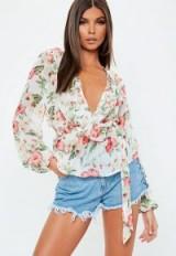 MISSGUIDED cream chiffon elastic waist frill wrap blouse / feminine ruffles