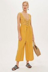 TOPSHOP Crochet Button Jumpsuit in Mustard / knitted florals