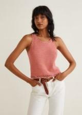 MANGO Crochet panel top in salmon | pink summer knitwear