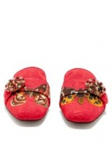 DOLCE & GABBANA Crystal and butterfly-print backless loafers ~ beautiful Italian footwear ~ luxe slip-on flats